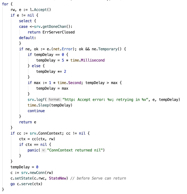 接收客户端请求并建立连接源码