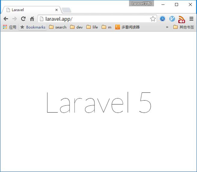 在浏览器中访问新安装的Laravel