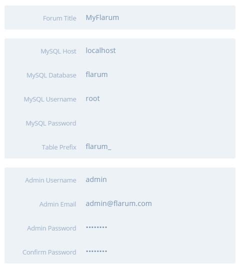 填写Flarum安装自定义表单