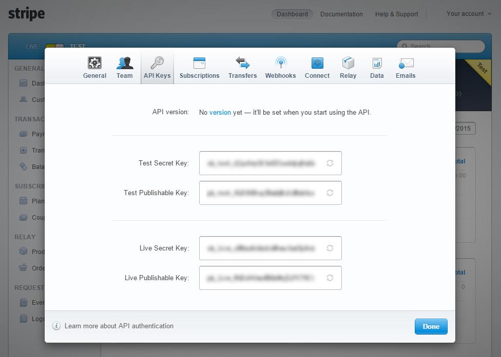 注册Stripe获取API Keys