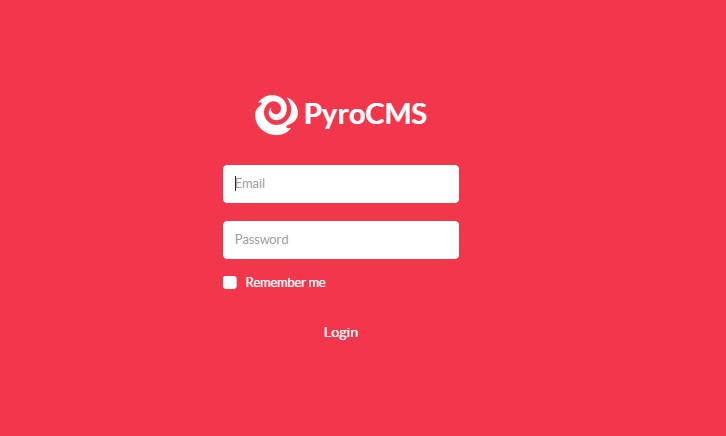 PyroCMS登录界面
