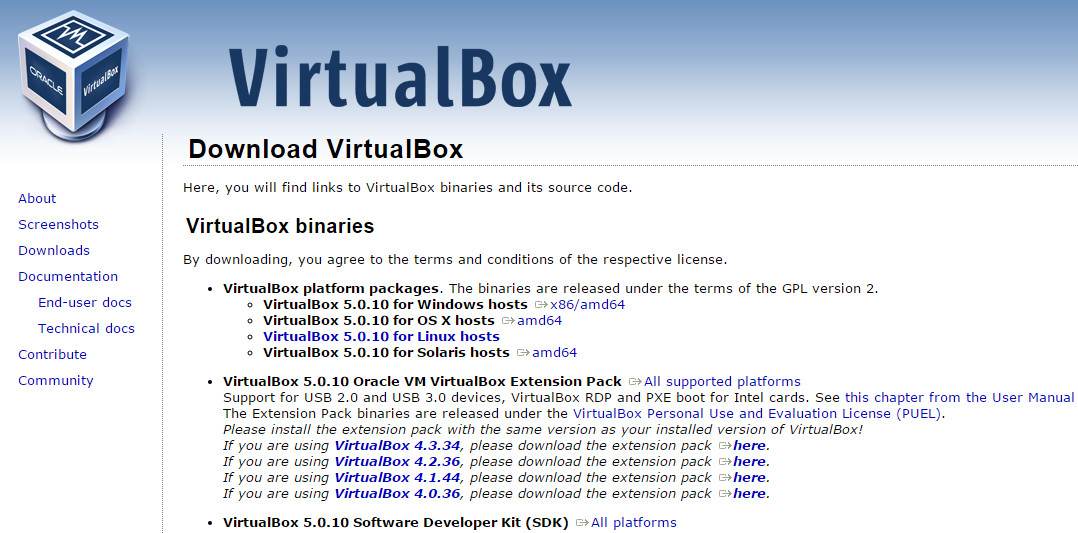 Virtual Box 下载页面