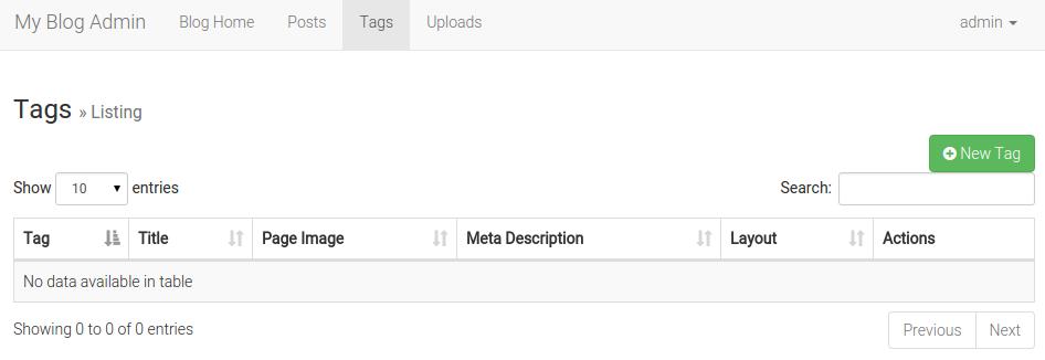 Laravel 博客后台标签管理页面