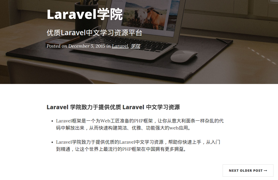 Laravel博客详情页