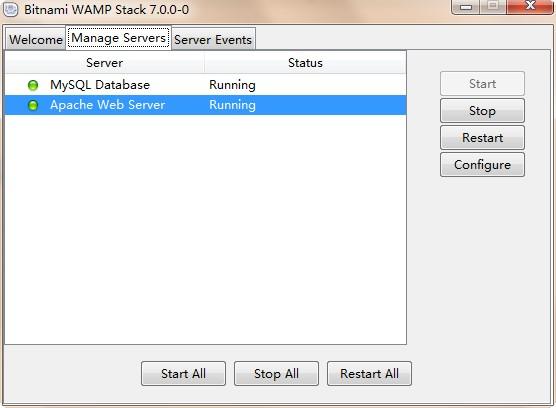 WampStack MySQL 及 Apache 运行状态