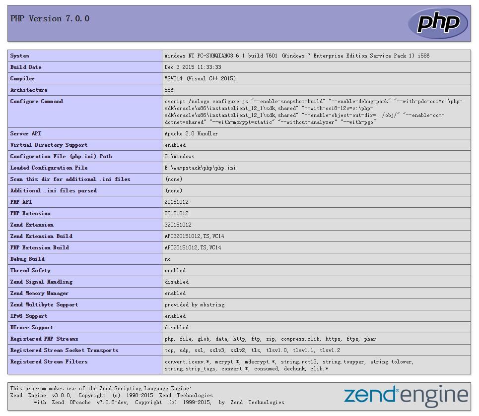 PHP 7 安装配置信息