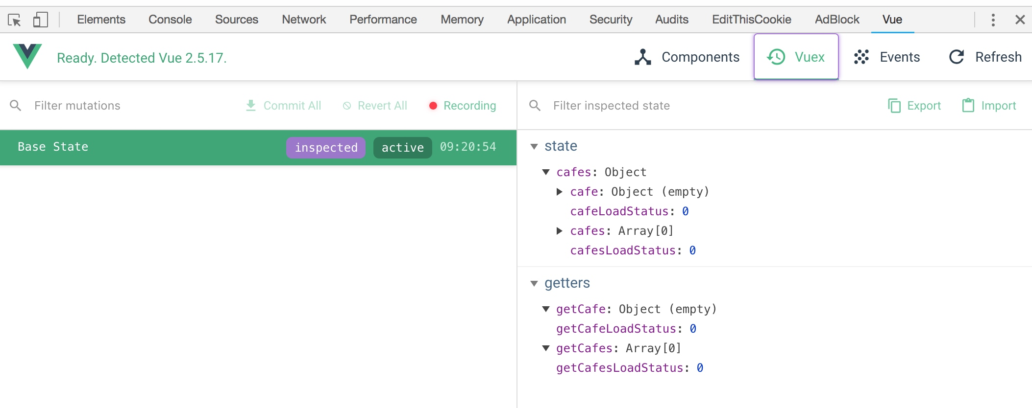 Vuex Module in Chrome Dev tools