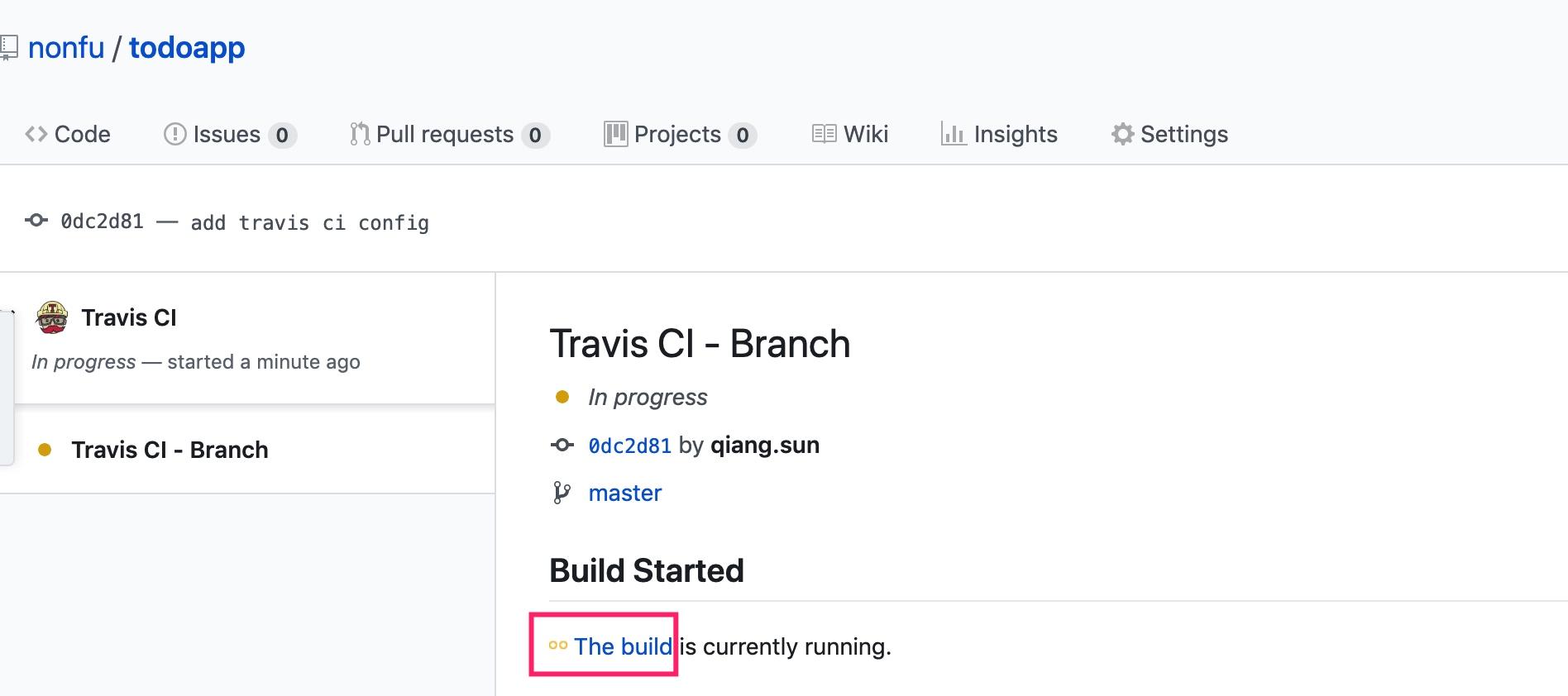 Github Travis Build Page