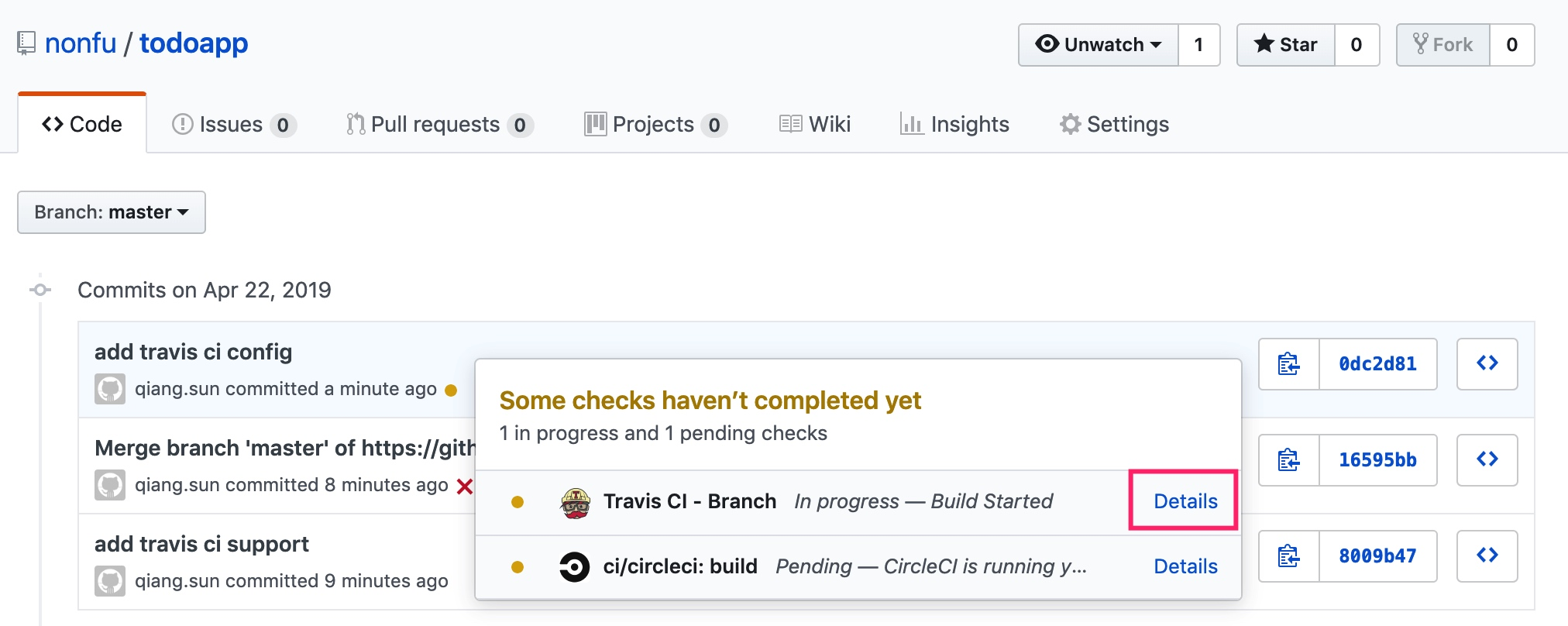Github+Travis+Code Commits