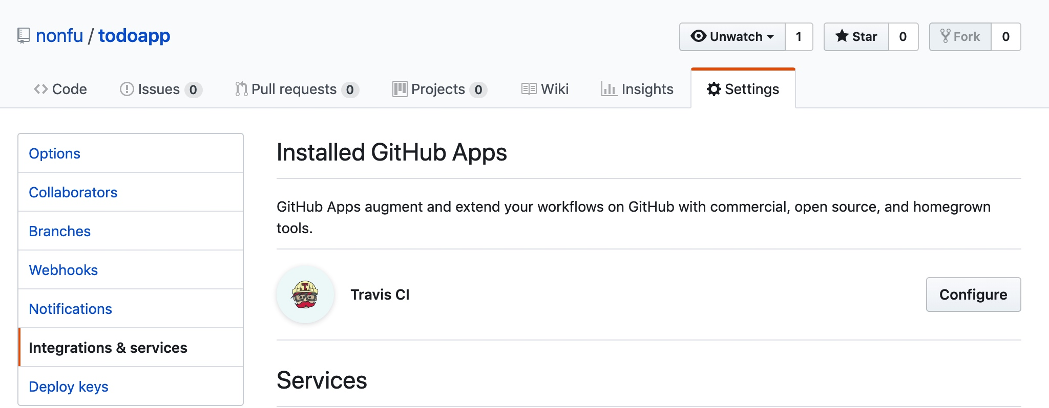Github+Travis Apps
