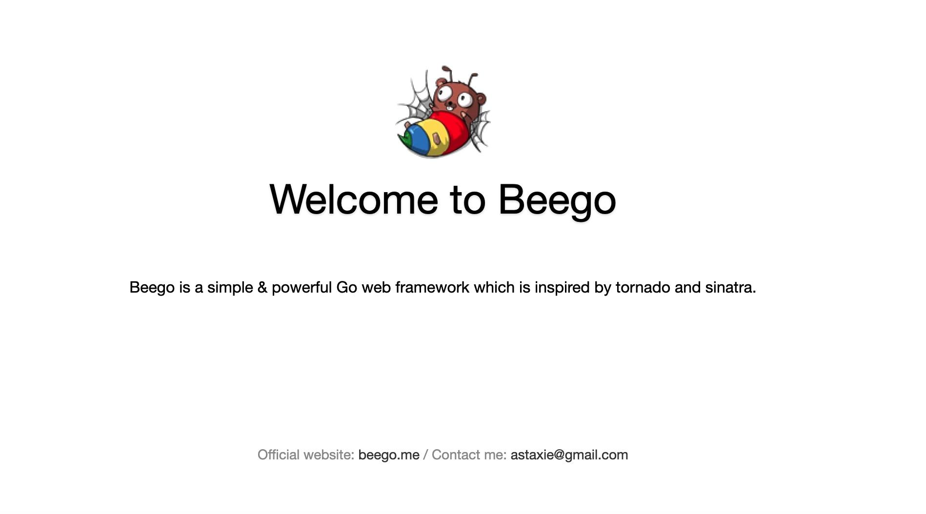 在浏览器中访问Beego 默认欢迎页面